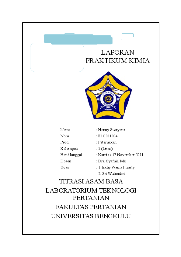 Doc Laporan Titrasi Asam Basa Henny Suciyanti Academia Edu