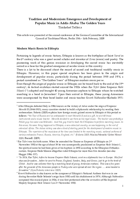 PDF) Timkehet Teffera (2010)  Tradition and Modernism
