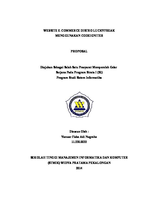 Doc Proposal Skripsi Sistem Informasi Yanuar Fisko Academia Edu