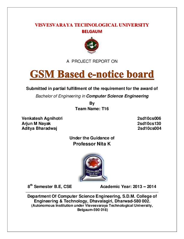 PDF) GSM based e-notice board project report | Venkatesh Agnihotri