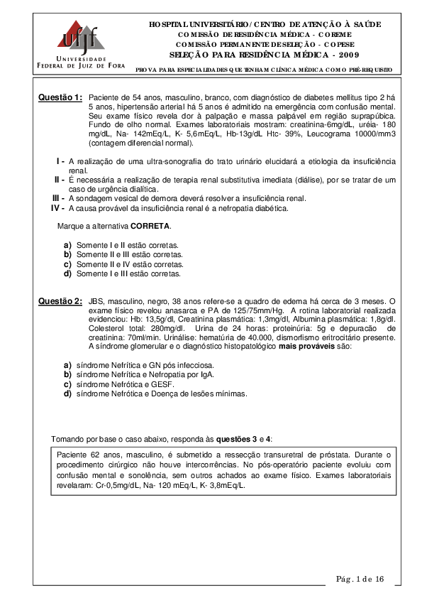 pdf) questoes função renal geraldo almeida academia edu1608 Funcao Renal Exames #4