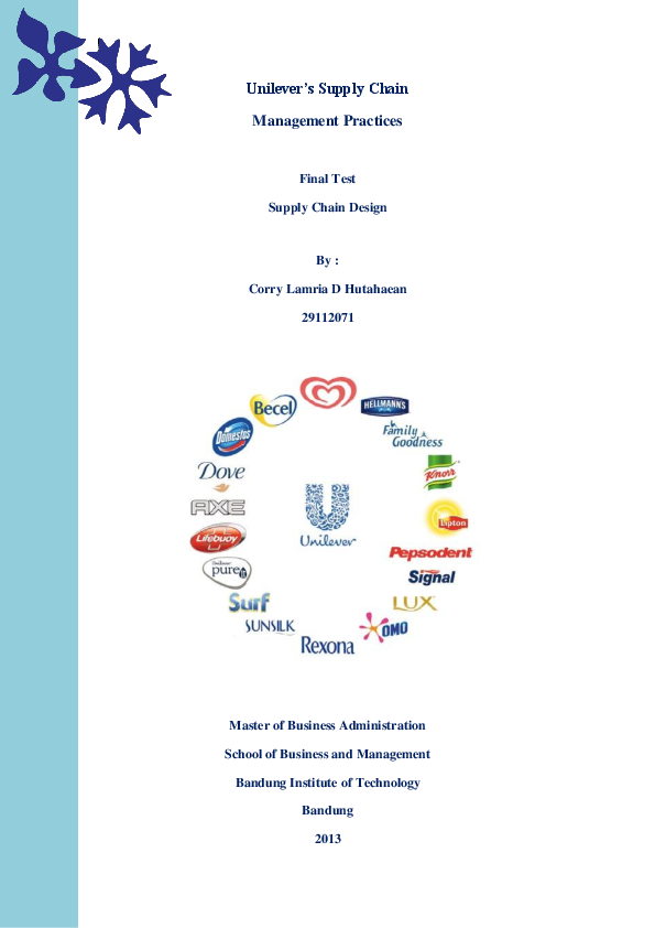 DOC) Supply Chain Management Practices in PT  Unilever