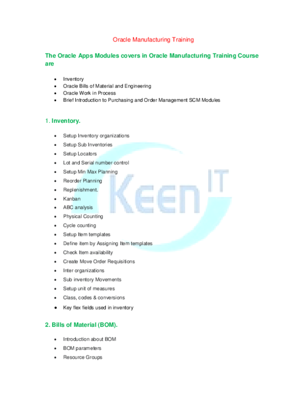 PDF) Oracle Manufacturing Online Training | Keen IT