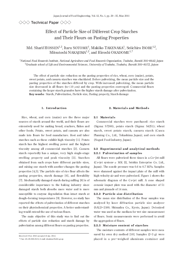 PDF) Effect of Particle Size of Different Crop Starches and Their