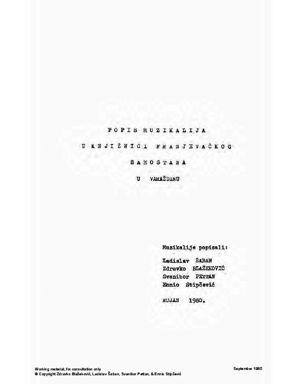 Pdf Popis Muzikalija U Knjiznici Franjevackog Samostana U