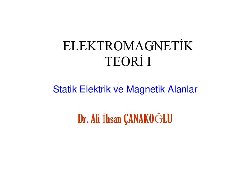 Elektromanyetik Teori Pdf