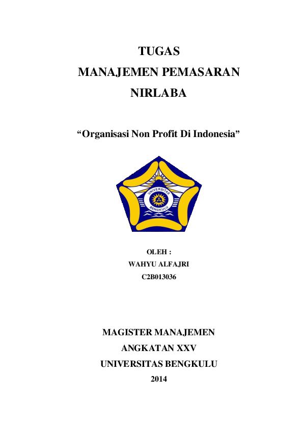 Doc Makalah Manajemen Pemasaran Nirlaba Khairunnisa Jozerizal Academia Edu