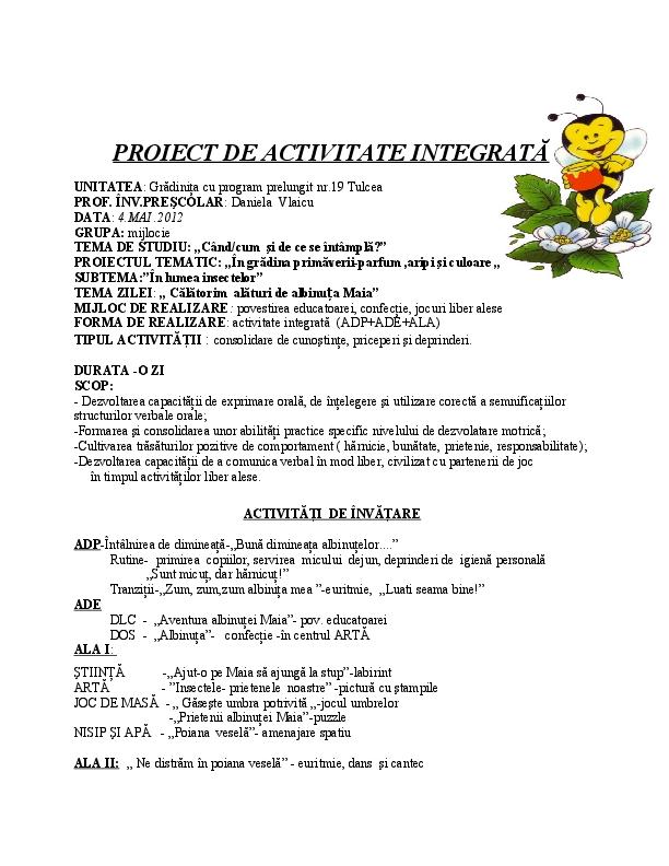 Proiect De Activitate Integrată Dinu Raluca Academiaedu