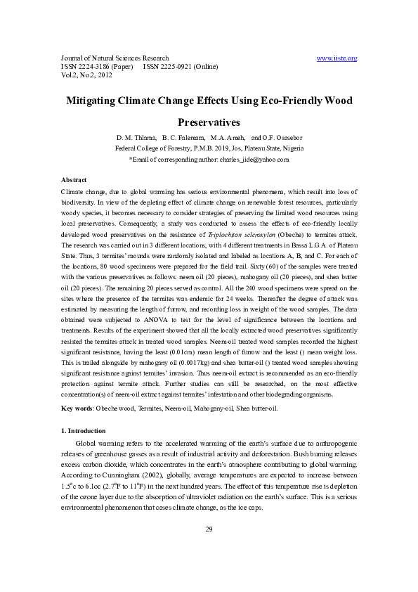 PDF) Mitigating Climate Change Effects Using Eco-Friendly