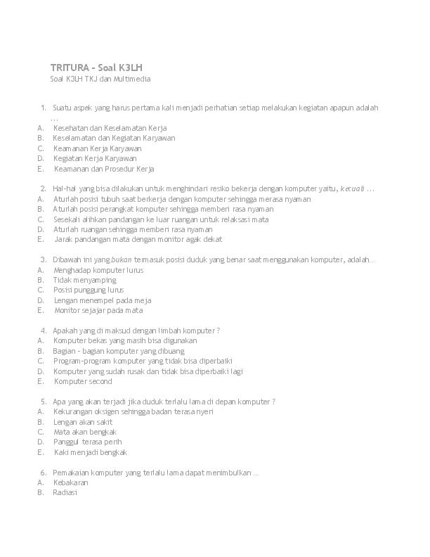 contoh soal essay k3lh tkj