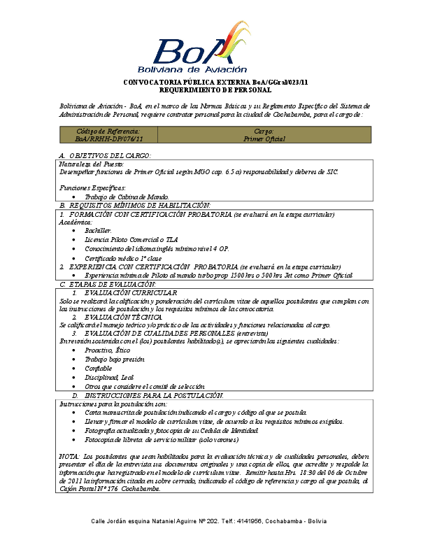 Convocatoria Publica Externa Boa Ggral 023 11 Requerimiento De