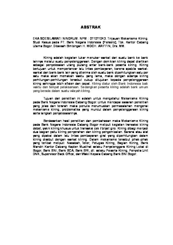 Doc Contoh Abstrak Tugas Akhir Eka Soesilawati Ningrum Academia Edu