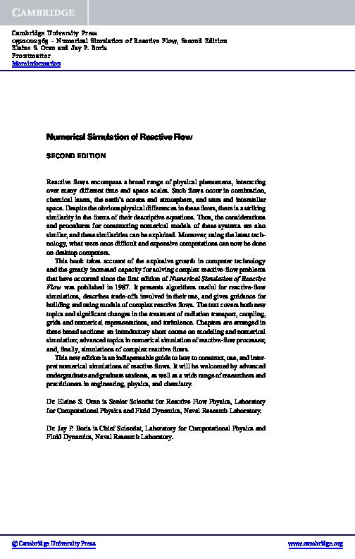 PDF) Numerical simulation of reactive flow | Michael Mera
