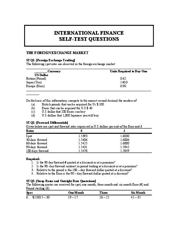 DOC) INTERNATIONAL FINANCE SELF-TEST QUESTIONS THE FOREIGN EXCHANGE MARKET    LAUDEN CHEYO - Academia.edu