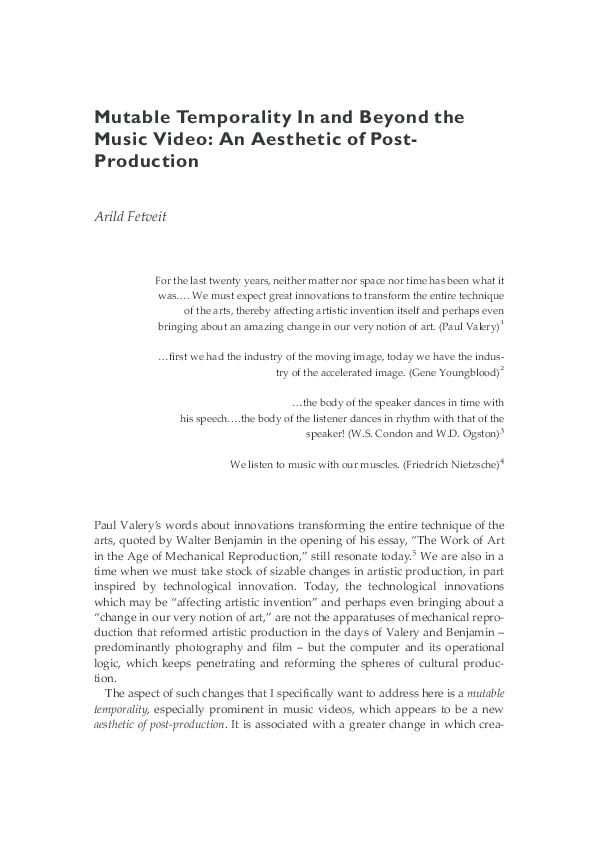 PDF) Mutable Temporality In and Beyond the Music Video | Arild