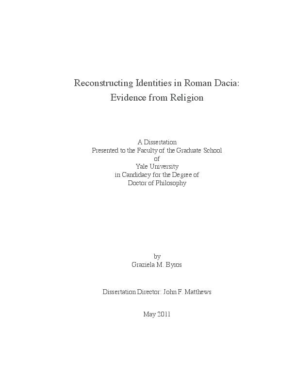 Pdf Reconstructing Identities In Roman Dacia Evidence From