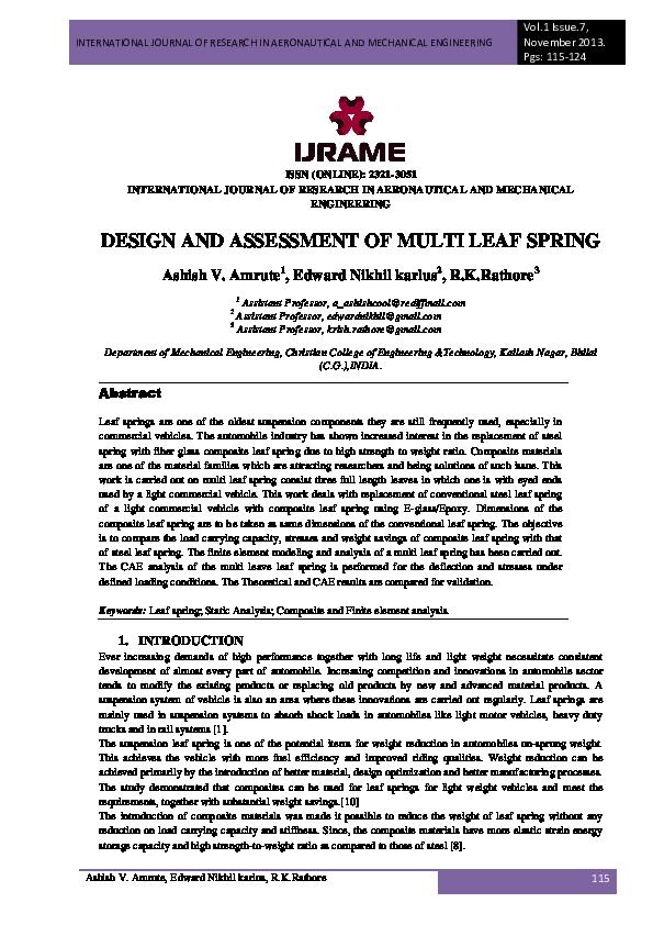 PDF) DESIGN AND ASSESSMENT OF MULTI LEAF SPRING | IJRAME