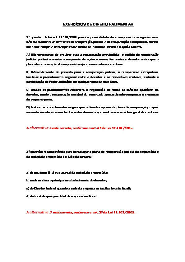 ba4cde74e2 DOC) EXERCÍCIOS DE DIREITO FALIMENTA1
