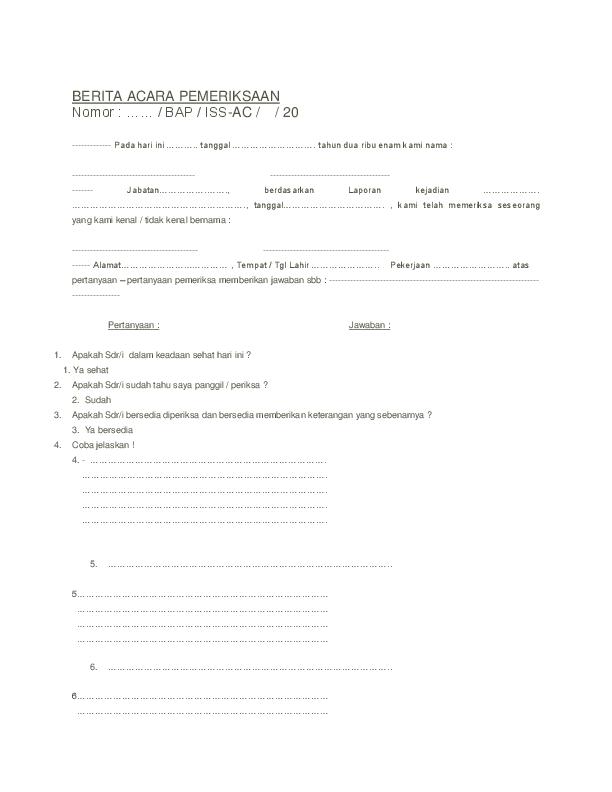 Doc Berita Acara Pemeriksaan Nomor Freintz Joseph Academia Edu