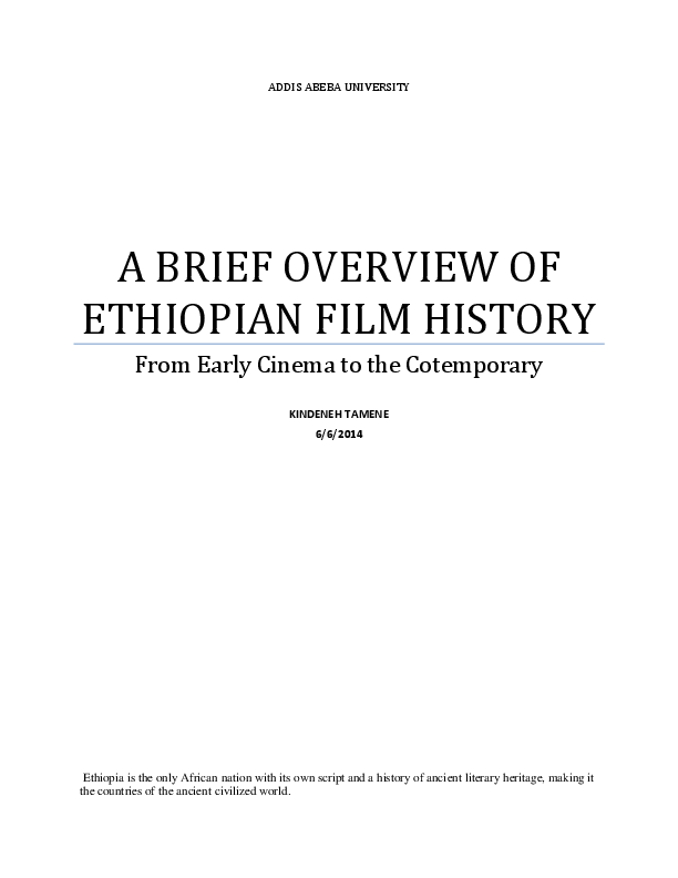 PDF) A Brief Overview Of Ethiopian Film History | Kindeneh