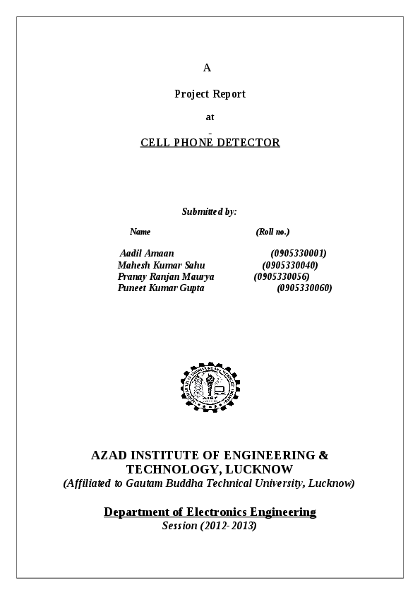 DOC) A Project Report at CELL PHONE DETECTOR Department of