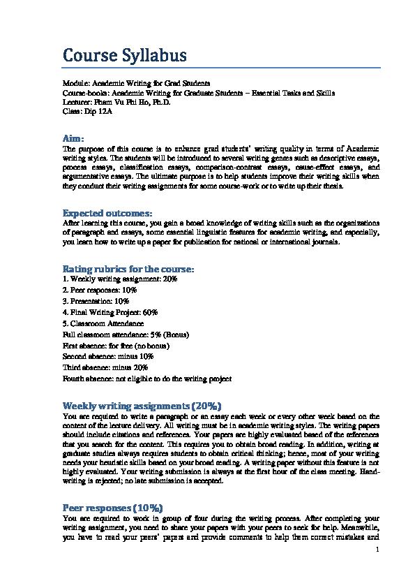 Dissertation course syllabus