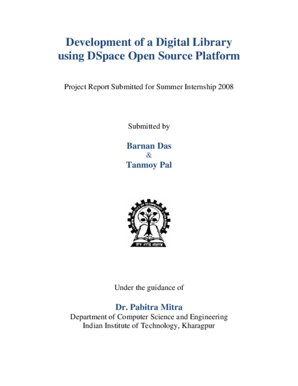 PDF) Development of a Digital Library using DSpace Open