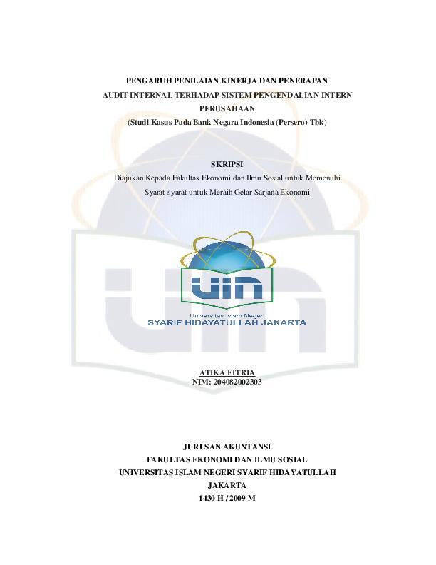 Pdf Pengaruh Penilaian Kinerja Dan Penerapan Audit Internal Terhadap Sistem Pengendalian Intern Perusahaan Wni Wna Academia Edu