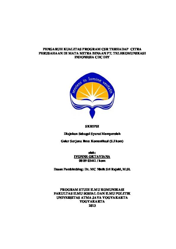 Pdf Pengaruh Kualitas Program Csr Terhadap Citra Perusahaan Di Mata Mitra Binaan Pt Telekomunikasi Indonesia Cdc Diy Skripsi Diajukan Sebagai Syarat Memperoleh Ayam Goreng Academia Edu