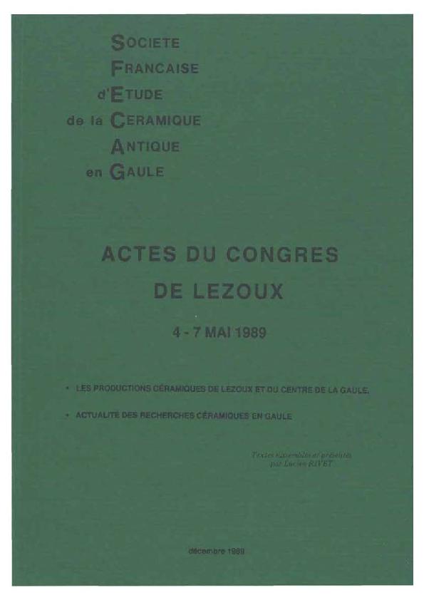 SFECAG, Actes du Congrès de Lezoux, 1989 | sfecag sfecag