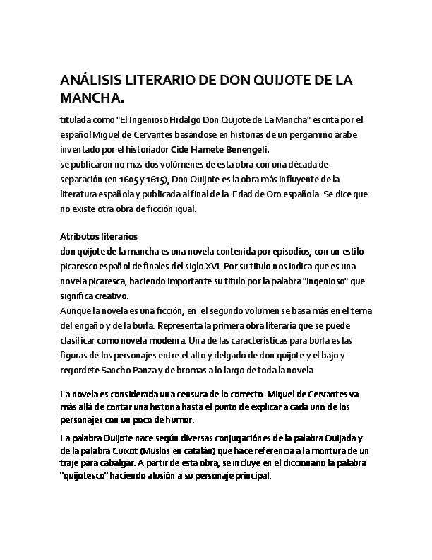 Doc Analisis Literario De Don Quijote De La Mancha Completo Pipe Pipe Academia Edu