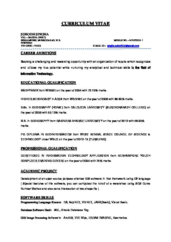 DOC) CV SUBODH | ANUPAM BERA - Academia edu