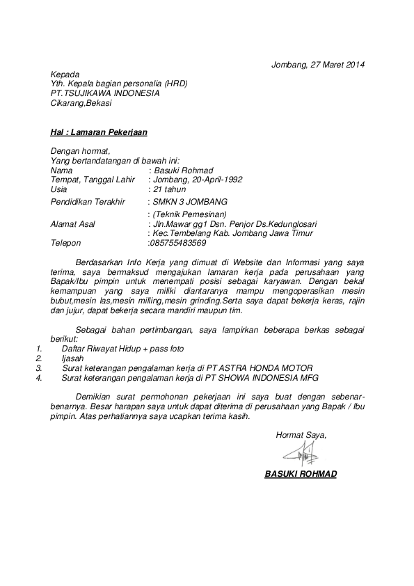 Doc Lamaran Rohmad Basuki Academia Edu