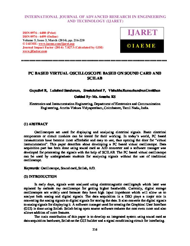 PDF) PC BASED VIRTUAL OSCILLOSCOPE BASED ON SOUND CARD AND SCILAB