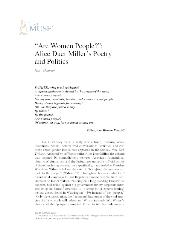 """PDF) """"'Are Women People?': Alice Duer Miller's Politics and Poetry"""