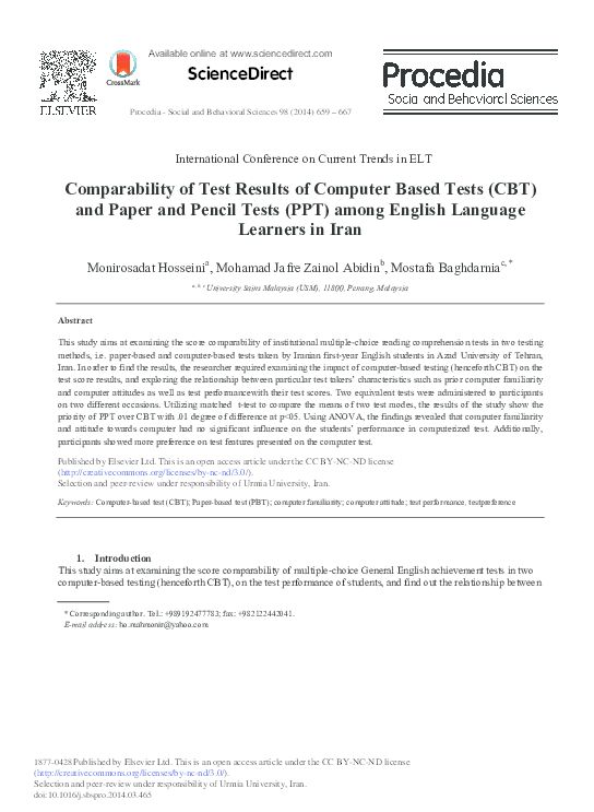 PDF) Comparability of Test Results of Computer Based Tests (CBT) and