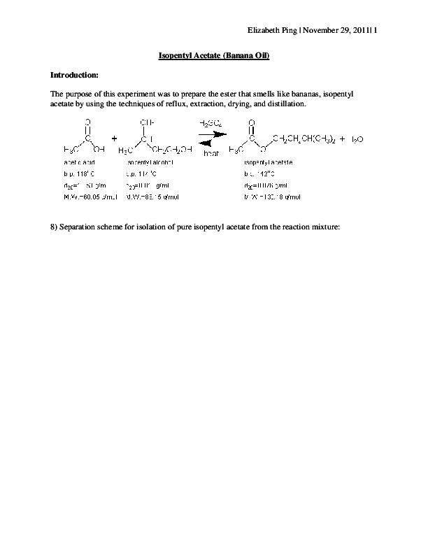isopentyl acetate lab report