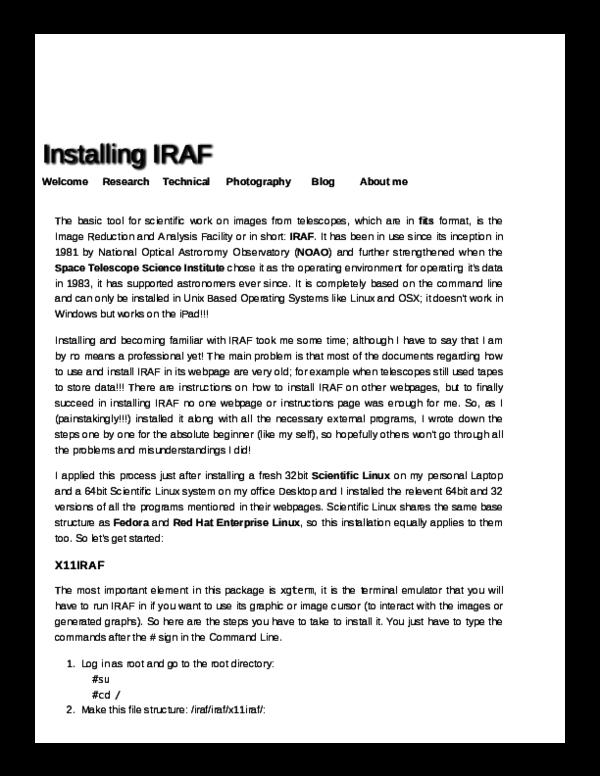 Installing IRAF on linux   Prithish Halder - Academia edu