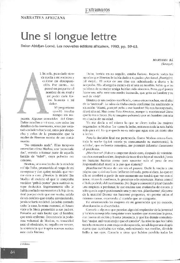 BA PDF UNE TÉLÉCHARGER SI MARIAMA LONGUE LETTRE DE
