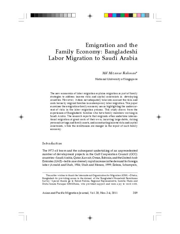PDF) Bangladeshi Labour Migration to Saudi Arabia (Journal Article