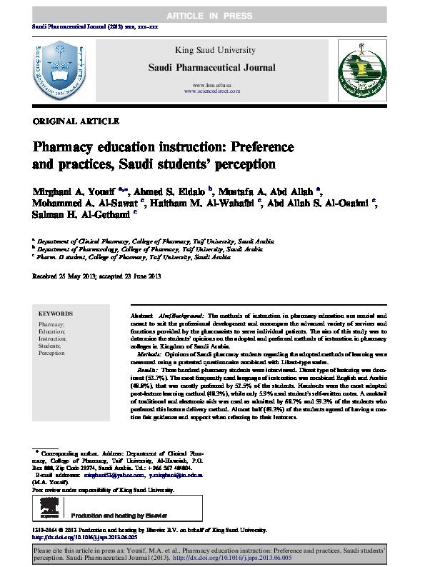 Pdf Pharmacy Education Instruction Preference And Practices Saudi Students Perception Mirghani Yousif And Ahmed Eldalo Academia Edu