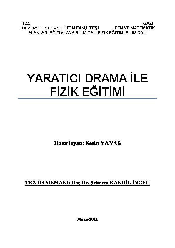 Doc Yaratici Drama Ile Fizik Egitimi Sezin Yavas Academia Edu