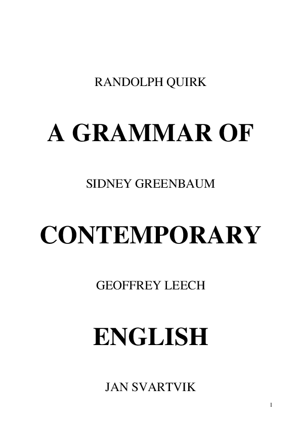 PDF) A Grammar of Contemporary English | Trung Doan
