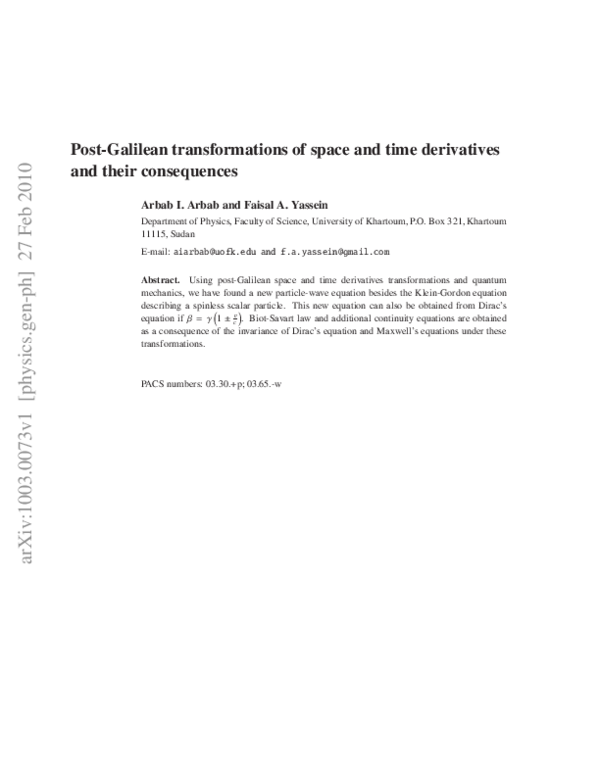 PDF) Post-Galilean transformations of space and time