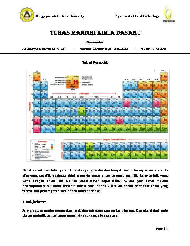 PDF) Tugas mandiri Kimia Dasar i | Michael Gurda - Academia edu