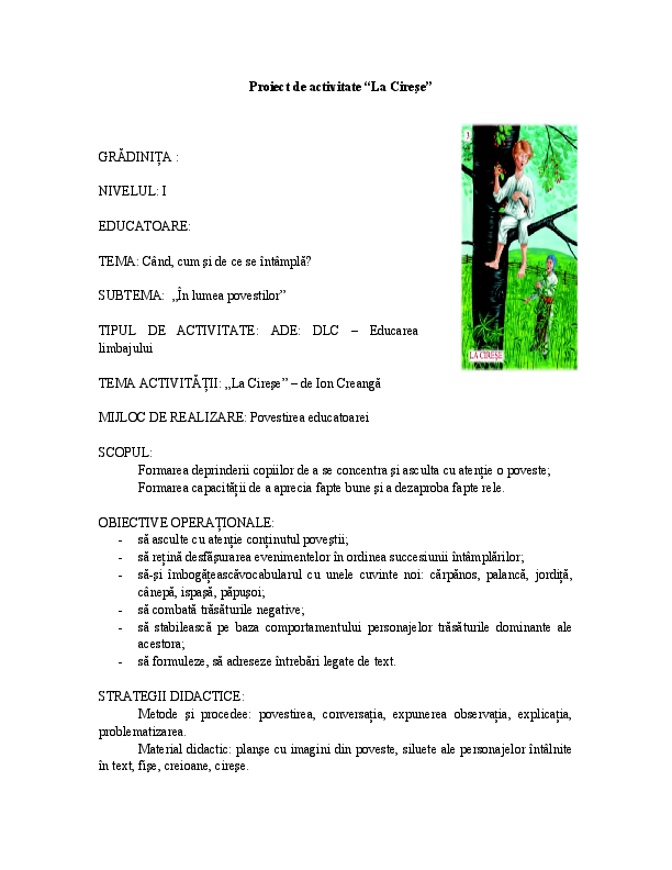 Doc 162745274 Proiect La Cirese Didactic Nicoleta