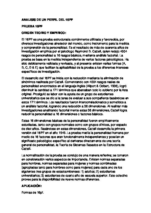 ANALISIS DE UN PERFIL DEL 16PF | Irma Tobo - Academia edu