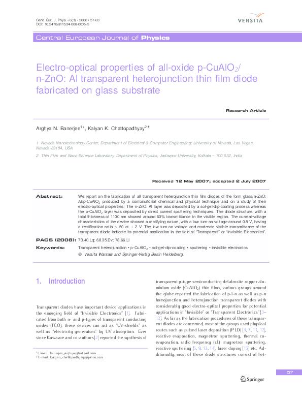 PDF) Electro-optical properties of all-oxide p-CuAlO2/ n-ZnO