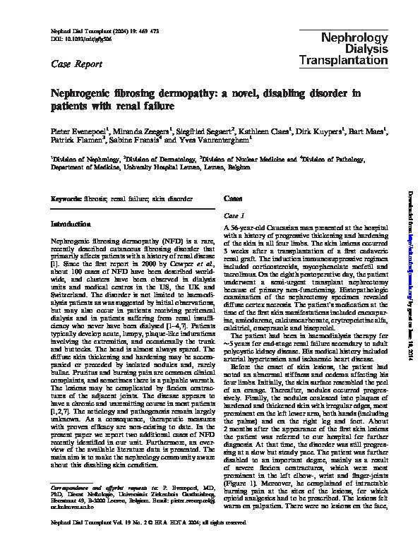 PDF) Nephrogenic fibrosing dermopathy: a novel, disabling