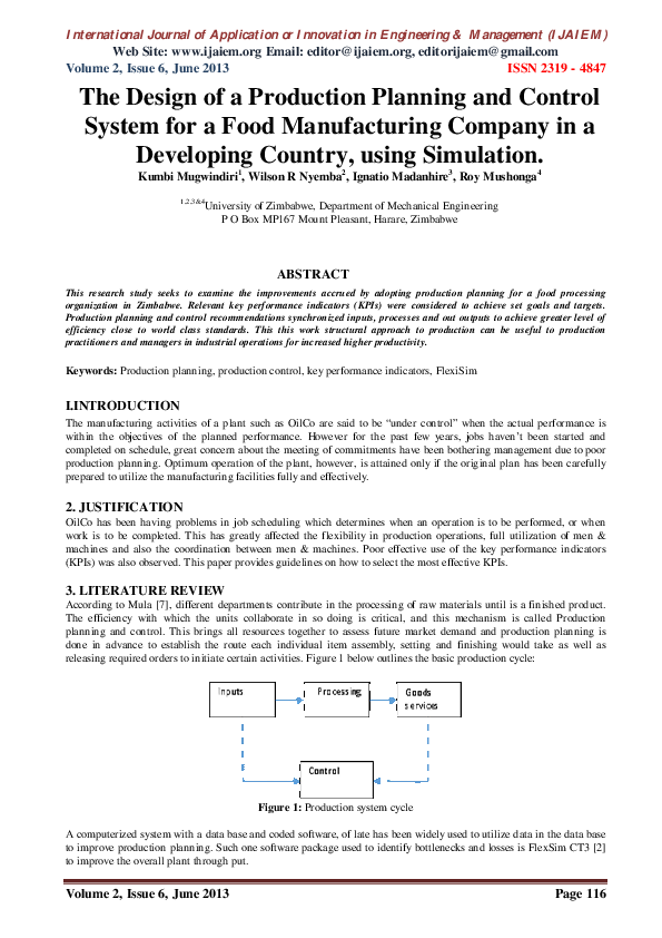 Pdf The Design Of A Production Planning And Control System For A Food Manufacturing Company In A Developing Country Using Simulation Roy Mushonga Academia Edu